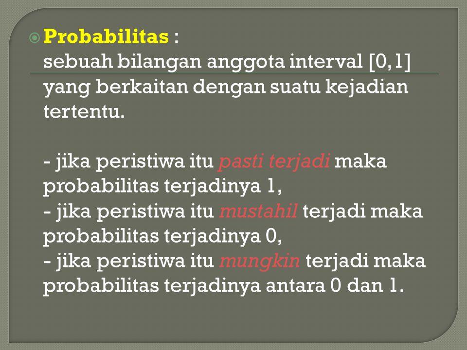 Probabilitas : sebuah bilangan anggota interval [0,1] yang berkaitan dengan suatu kejadian tertentu.